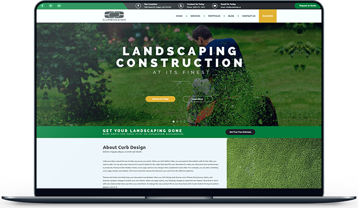Curb Design. A Local Calgary-Based Landscaping Company. We Design and Developed their entire Online Presence