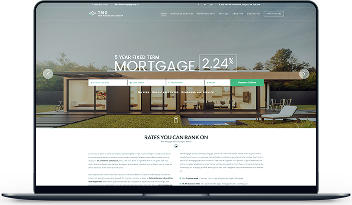 The Mortgage Group asked Ullaco Corp to Design and Develop their entire Website. Calgary-Based Web Development Services