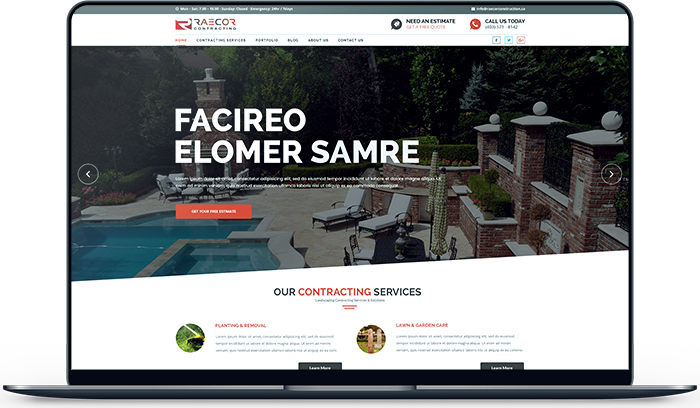 Reacor Contracting is an Commercial Landscaper. Ullaco Redesign and Developed their new Website Design In Calgary