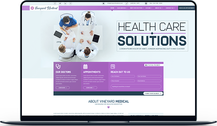 Vineyard Medical Clinic. Medical Centre Website Design and Development